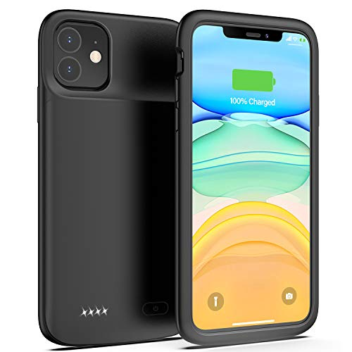 Swaller Battery Case for iPhone 11, 5000mAh Protective Portable Charging Case Rechargeable Extended Battery Pack Charger Case for iPhone 11(6.1 inch) (Black)