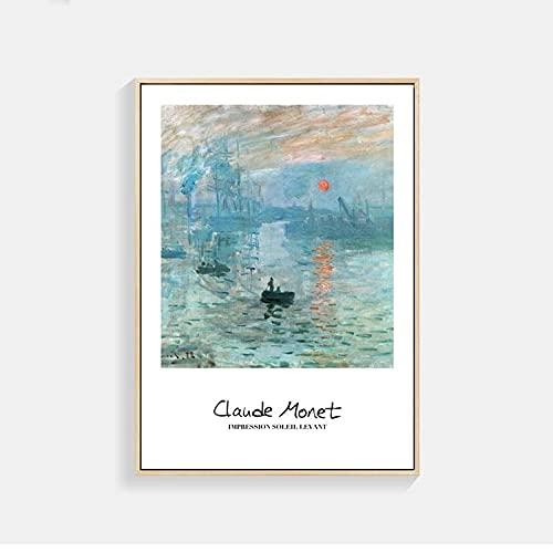 Carteles e impresiones artísticos de Monet Van Gogh, cuadros de pintura, pintura en lienzo, decoración para sala de estar, decoración mural, arte abstracto M 40x60cm