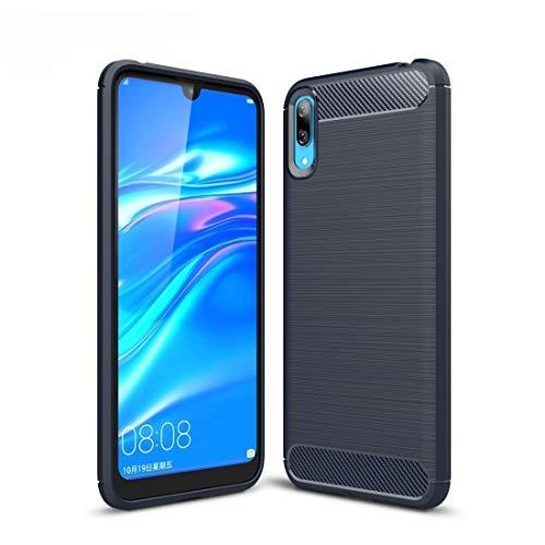 MDYHMC YXCY Aycd Cepillado Textura de Fibra de Carbono a Prueba de Golpes a Prueba de Golpes para Huawei Disfruta 9 (Negro) (Color : Navy Blue)
