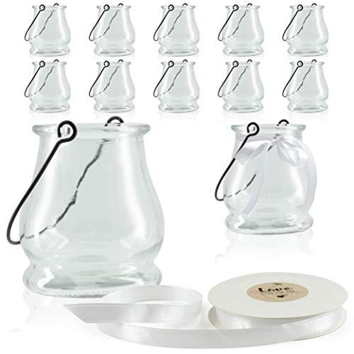 WeddingTree 12 x Windlicht Glas mit Bügel und Dekoband weiß Klassik - Teelichtgläser - 9 cm hoch - Einfach Abnehmbarer Metallbügel - Deko für Hochzeit