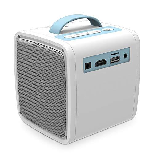 LG&S Mini Proyector De Video con Mango Portátil Proyector De Cine En Casa HD 1080P Compatible con Interfaz USB/AV/SD/HDMI 20000 Horas De Vida De LED para Cine En Casa,Azul