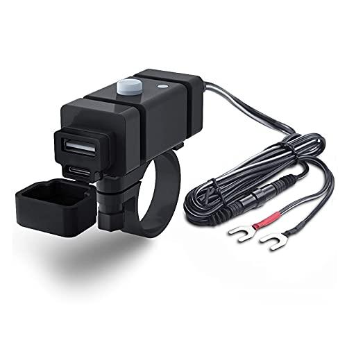 RUIZHI Motocicleta Cargador USB Impermeable Dual USB Cargador de Teléfono Adaptador con Interruptor Power Socket para Scooter Moto - Negro