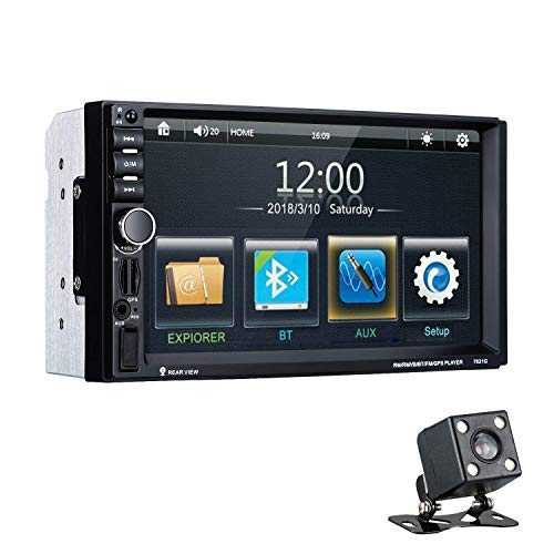 Excelvan 7021G Reproductor MP5 para Coche, 7' Pantalla Táctil Digital Autoradio Bluetooth GPS Navegación Radio 2 DIN con Mapa Europea incorporada, Cámara Trasera, Control Remoto