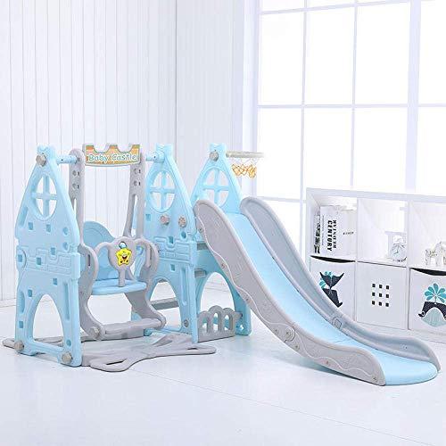 Centro de juegos de diapositivas con tobogán interior, juguetes de jardín de infantes, toboganes de interior para niños, toboganes para bebés multifuncionales en azul, con aro de baloncesto y pel