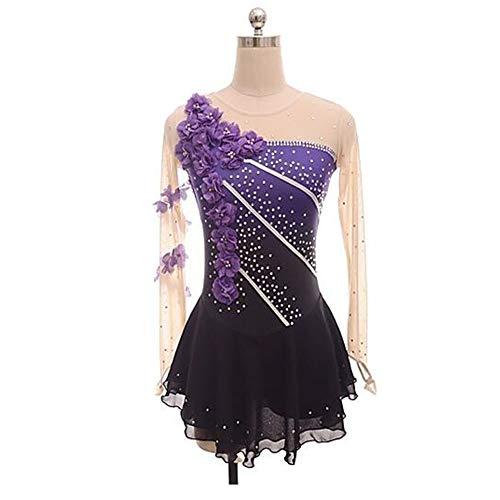 LWQ Skating-Kleid für Frauen-Mädchen Eislaufen Kleid lila Blumen-Halo Färben Spandex Micro-elastischen Berufswettbewerb Skating,170