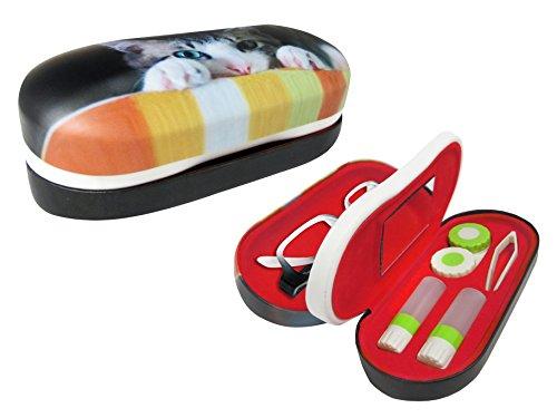 OptiPlix Doppelseitiges Brillen- und Kontaktetui, 2-in-1-Etui mit Spiegel - mehrfarbig - Groß