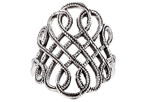WINDALF Wikinger Damen Ring LUCIANA h: 2.3 cm Freyas Fackel Ornamentik Hochwertiges Silber (Silber, 50 (15.9))
