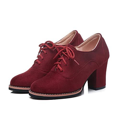 ZYHLL delle Donne Alti Solidi Handmade Color Suede Lace-Up Shoes Antiscivolo Sole Lady Temperamento per Lo Shopping o Partito,C,34EU