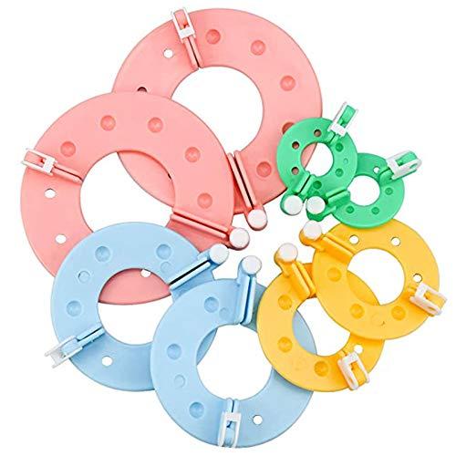8 Piezas Tejedor de Bolas de Pelusa, Tejedora de Bolas de Pelusa, Kit de Plástico para Hacer Pompones, para Manualidades de Bricolaje, Decoración, Amuletos, Regalos, Rosa, Azul, Amarillo, Verde