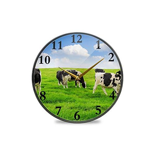 Vintage-Wanduhr, Kuh auf dem Gras, blauer Himmel, weiße Wolken, dekorative Uhr, moderne Uhr, batteriebetrieben, geeignet für Esszimmer, Küche, Büro, Klassenzimmer, plastik, multi, 11.9x11.9in