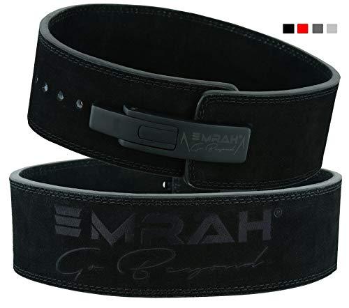 EMRAH Pro Buff Hide Cinturón de Levantamiento de Pesas para Hombres y Mujeres | Durable Cómodo (Negro Mate, Pequeña)