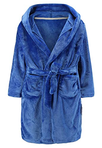 Unisex Girls Bathrobes Toddler Boys Hooded Robes Plush Soft Coral Fleece Pajamas Sleepwear 3TBlue
