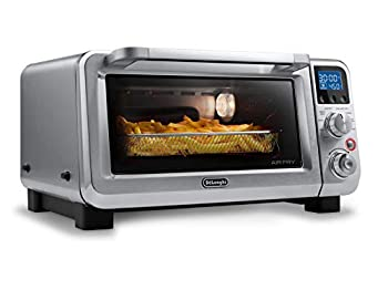 De Longhi Livenza 9-in-1 Digital Air Fry Convection Toaster Oven Grills Broils Bakes Roasts Keep Warm Reheats 1800-Watts + Cooking Accessories Stainless Steel 14L  .5 cu ft  EO141164M