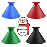 Buyoung SGQCAR Round Windshield Ice Scraper, Magic Cone-Shaped Car Windshield Ice Scraper,Ice Scraper Breakers for Car Snow Scrapers,Car Snow Removal Shovel Tool-As a Funnel 2 and 1 Tool 4 Colors