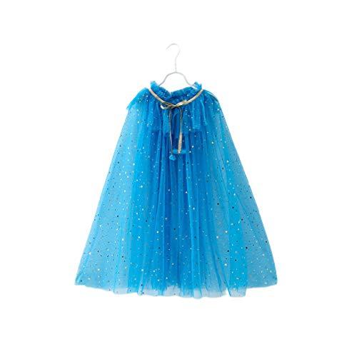 Fenical Mode Mesh Dunkelblau Mädchen Cape Cosplay Prinzessin Robe Kostümzubehör (Größe M)