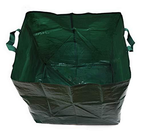 Pilix 4X Gartensack 150 L | Laubsack faltbar | 2 Griffe | Grünabfall Behälter eckig | grüner Gartenabfallsack | Garten Sack Abfall | Gartensäcke Grünabfall | Garten Sack für Gartenabfälle