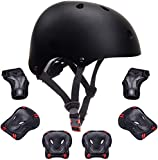 Kids Bike Helmet Toddler Helmet Boys Girls Kids Knee Elbow Pads Wrist Guards Pads 3-14 Years Kids Protective Gear Set Skateboard Cycling Scooter Sports 7Pcs (Black, 18.89'-21.26')