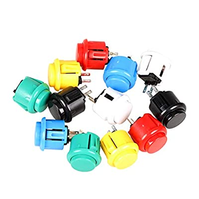 EG STARTS 12x 24mm OEM Arcade Buttons Switch Perfect Replace for Sanwa OBSF-24 Push Button DIY Fighting Stick PC Joystick Games Parts ( Each Color of 2 Pieces )