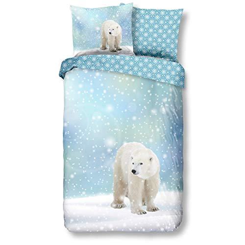 Aminata Kids Premium Biber-Bettwäsche Eisbär 135x200 cm + 80x80 cm, Baumwolle, Reißverschluss, Kinderbettwäsche mit Winter-Motiv, warm, weich & kuschelig, Weihnachten, Winter-Landschaft