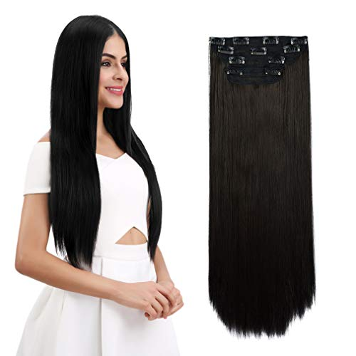 """REECHO 18"""" Straight Long 4 PCS Set Thick Clip in on Hair Extensions Black Brown"""