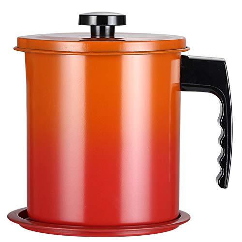 OnePine 1600ml Olla de Colador de Aceite Filtro Aceite Oliva Cocina con 304 Acero Inoxidable Malla Fina Colador y Tapa con Plato Base