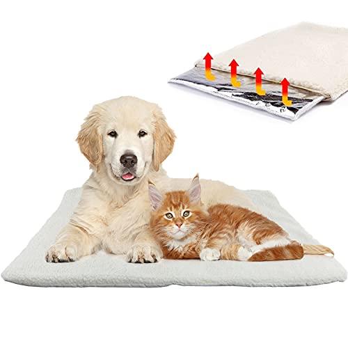 Aidiyapet Hundedecke & Katzendecke für kalte Böden |Waschbare Hunde Thermodecke | Reflektiert Körperwärme | Knisterfreie Wärmematte | Selbstheizende Decke 60x45cm