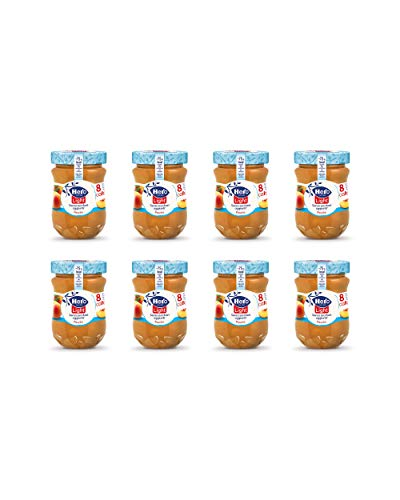 Hero Light Confettura di Pesche light, 8 vasetti da 280 gr, marmellata e confettura extra, frutta di alta qualità, senza conservanti e senza coloranti, pochissime calorie per porzione