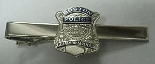 Boston Police Officer Massachusetts Badge Tie Bar Silver