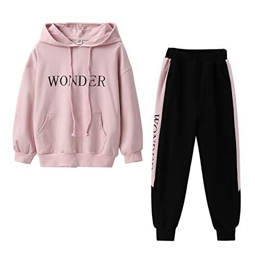 YFPICO Kinder 2tlg Jogginganzug Mädchen Trainingsanzug Outfit-Set(Sweatshirt + Sweathose) Buchstabe Sportanzug Freizeitanzug, Rosa, 152-158