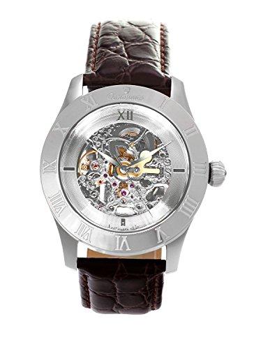Continuum Uhr Automatikuhr Armbanduhr für Herren Männer Analog Skelettuhr Herrenuhr Männeruhr mit Leder Armband Braun Wasserdicht Klassisch Elegant Zifferblatt CO15007