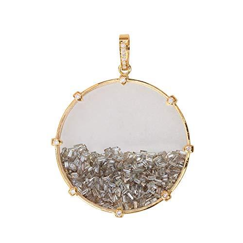 ASHNE JEWELS Diamantes naturales forma de baguette, cuarzo cristal piedra piedra coctelera colgante sólido 14k oro amarillo joyería para las mujeres