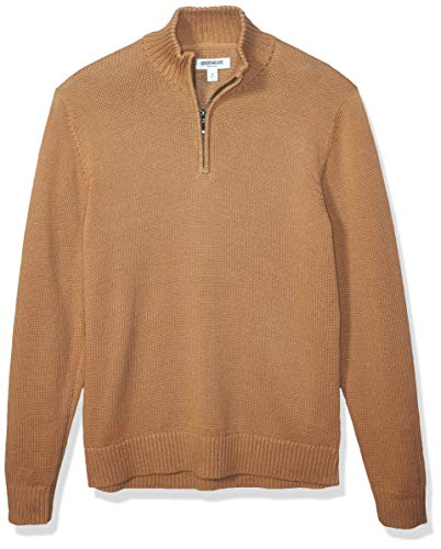 Amazon Brand - Goodthreads Men's Soft Cotton Quarter Zip Sweater, Camel Medium