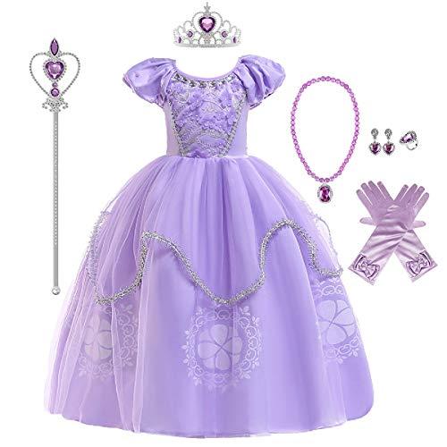 FMYFWY Ragazze Rapunzel Principessa Sofia Vestito Carnevale Costumi Bambini Natale Halloween Cosplay Vestito di Compleanno Comunione Cerimonia Pageant Festa Nozze Battesimo Abiti con Accessori 8-9