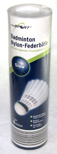 For Sport 6er Set Badminton Nylon Federbälle, Feder Bälle , slow inkl. Box