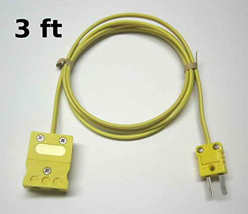 K-Type Thermocouple Extension Adapter Cable Wire with Standard to Miniature Mini Thermocouple Connectors 3 ft (= 1 yard) long