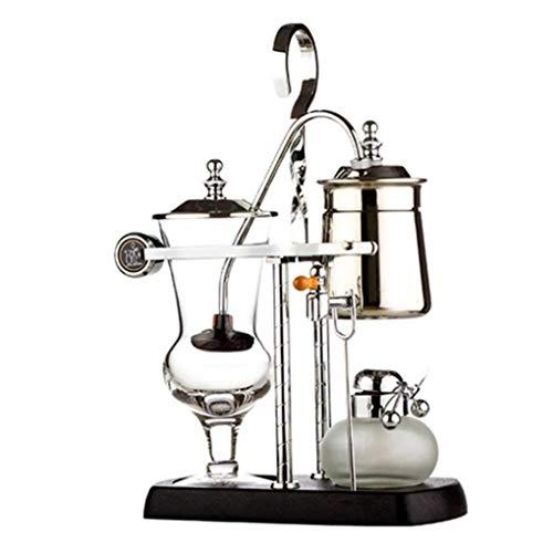 Kaffeemaschine SKTY Syphon Kaffeemaschine, belgischen Königlichen Gleichgewicht Kaffeekanne, klassische und elegante Doppelständer Kaffee Siphon, Gold Traditionelle Kaffeemaschine ( Color : Silver )