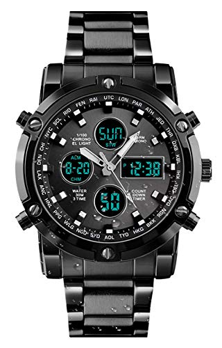 BHGWR Herren Analog Digital Quarz Uhr mit Silber Edelstahl Armband, Herren Militär Sportuhr mit Wecker/Countdown/Stoppuhr, großes Gesicht wasserdicht Digitaluhr Armbanduhr für Männer (B-schwarz)