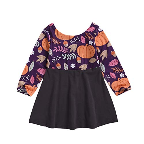 Baby Girl Halloween Outfits 6M-5T Infant Toddler Girl Long Sleeve Pumpkin Tutu Halloween Thanksgiving Dress (Purple, 2-3 Years)