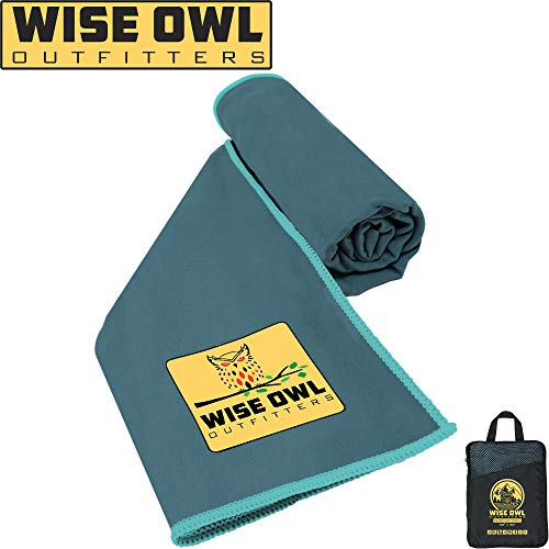 Wise Owl Outfitters Camping Towel Ultra Soft Compact Quick Dry Microfiber - Great for Fitness, Hiking, Yoga, Travel, Sports, Backpacking & The Gym - Free Bonus Hand Towel 24x48 MB