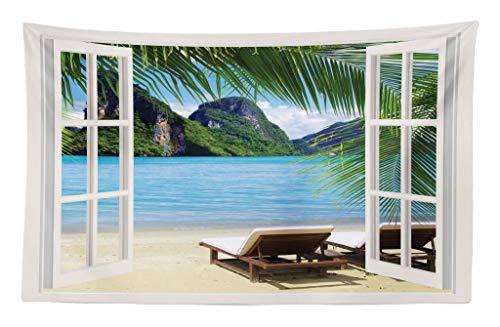 ABAKUHAUS Casa Náutica Tapiz de Pared y Cubrecama Suave, Océano Paisaje de Playa Tumbonas Balcón Verano Imagen Isla Tropical, Decoración para el Cuarto, 230 x 140 cm, Blanco