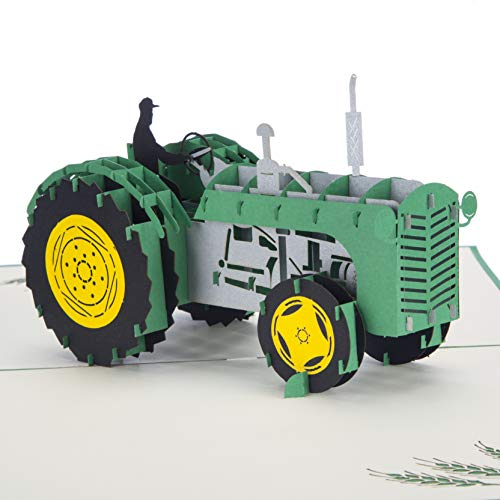 Green John Deere Tractor Card | Tractor Pop Up Card, Tractor Gifts for Men, Fathers Day Cards for Farmers, Handmade Card by Cardology