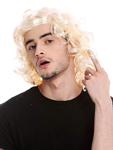 WIG ME UP - 3750-P88-P88 Perücke Herrenperücke Unisex Blond leicht gelockt Mittelscheitel Alter Schlagersänger Gigolo 70er & 80er Jahre