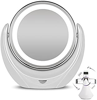 Rantizon Makeup Mirror LED Illuminated Cosmetic Mirror 1X/5X Magnification with Bright LED Lights Double Face 360°Rotation Shaving Mirror for Beauty, Tabletop, Bathroom, Bedroom, Travel Mirror with Stand, Double Sided