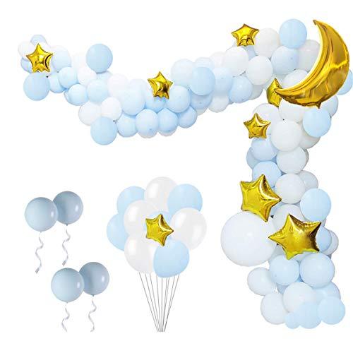 QAQGEAR Ghirlanda e kit arco palloncini dorati Stella scintillante Crescent Moon Bianco Baby Blue Palloncini in lattice blu Forniture per striscia Decorazioni fai da te per matrimonio Compleanno