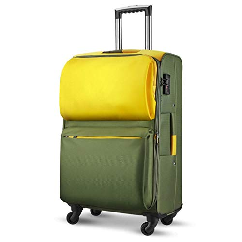 Trolley da Viaggio Trunk Trunk Suitcase Cloth Impermeabile ad Alta capacità Imbarco Universal Wheel Password Consignment Unisex 3 Colori CHENGYI (Color : Yellow Green, Size : 24 Inches)