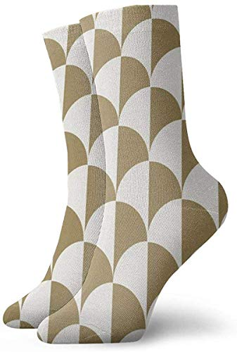 ORANGEW Round Checkers White On Gold Casual Crew Socks Funny Novelty Ankle Socks Winter Socks For Men And Women - One Size Fits Most