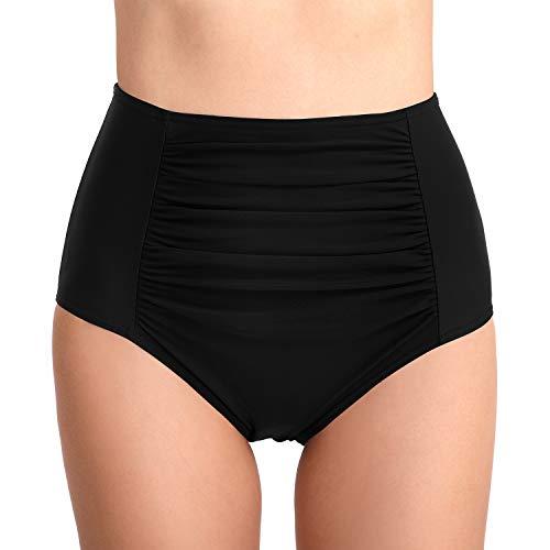 PANAX Damen Mädchen Badehose - Urlaub Bikinihose mit Hoche Taille Design Swimwear Tankinihose in Schwarz, Größe XL