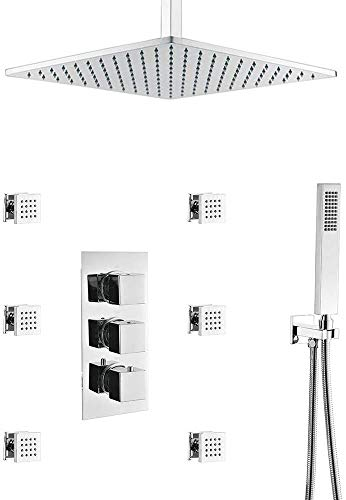 Rainfall Thermostatic Brass Shower System Chrome Finish with Body Spray Jets, Bathroom Ceiling Mount...