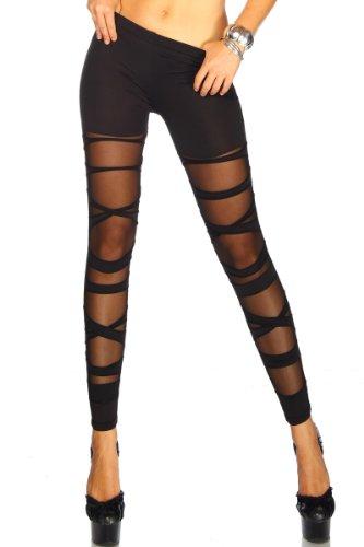 jowiha Leggings im Bandage Look für Damen teiltransparent in Schwarz Größe XS-M/L