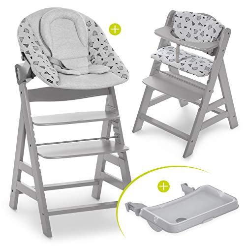 Hauck Baby Hochstuhl Alpha XL Set ab Geburt - mit Neugeborenenaufsatz, Essbrett und Sitzauflage/Mitwachsender Holz Babystuhl mit Liegefunktion - Grau